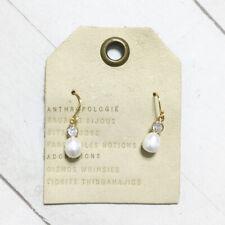 Anthropologie Pearl Drop Earrings Zelda Freshwater Pearl Glass Crystal