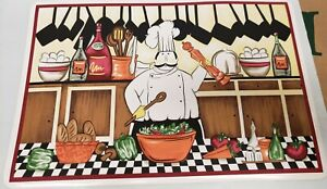 Set of 4 Vinyl NON CLEAR Placemats, FAT CHEF MIXING SALAD, KT