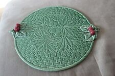 BORDALLO PINHEIRO GREEN LEAF CHERRIES PLATTER PLATE SERVING PIECE PORTUGAL