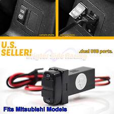 FITS MITSUBISHI LANCER/GALANT 2-PORTS POWER SOURCE 2.0A USB ADAPTER PLUG UPGRADE