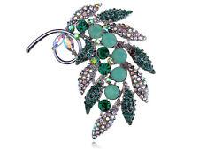 Beautiful Fashion Aurore Boreale Crystal Rhinestone Leaflet Design Pin Brooch