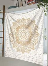Indian gold flower mandala hippie wall hanging bedding bedspread king size throw