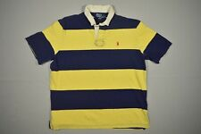 New listing Ralph Lauren Polo Shirt Adult Extra Large XL Blue Yellow Pony Striped Rugby Mens