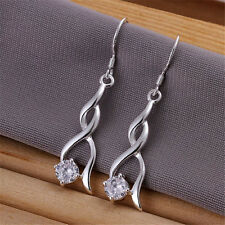beautiful Fashion 925 sterling Silver crystal stone earrings jewelry Charm women