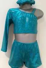 Girls 10-12 Forest Glitz hot pants and top set disco/gymnastics/dance/practice