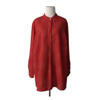 Lauren Ralph Lauren 2X Red Tan Long Sleeve Popover Blouse