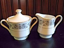 Empress China Creamer & Sugar Bowl Japan Renaissance 1025 Black White Gold Trim