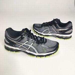 Asics Gel Kayano 22 Running Shoes Men's Size 10 Gray Black Yellow T547N CLEAN