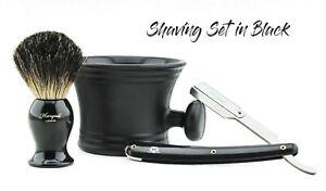 Badger hair shaving brush straight cut throat shaving razor plastic shaving Mug