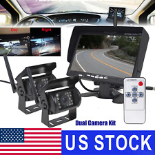 "7"" Monitor+2x Wireless Rear View Backup Camera Night Vision for RV Truck Bus HOT"