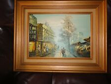 """Vtg ORIGINAL Oil Painting Signed By Artist  """"Night Time In Paris France"""" W/Frame"""
