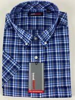 Roundtree Men LS Blue Multi Plaid Travel Shirt 2X B 3X 2XLT 3XLT NWT