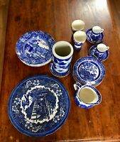21 pcs Mixed Staffordshire Blue and White