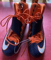 Men's Nike LunarBeast Strike Pro Football Cleats, Orange, White & Blue Size 15