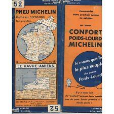 CARTE Michelin N°52 Le HAVRE-AMIENS Compiègne Bapaume Fécamp Abbeville Oise 1932