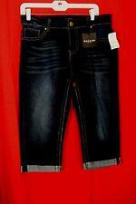 Baccini Women's Blue Jeans Size 10 P Denim Cropped Cuffed Capri Dark Wash NWT