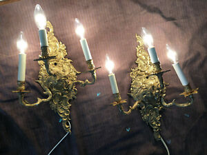 Pair of Vintage Brass 3-Light Electric Sconces - French Louis XV Rococo Style