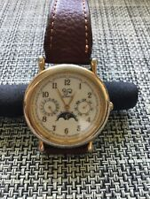 RARE VINTAGE RJW MOON PHASE MENS WATCH GOLD PLATED DATE WINDOW
