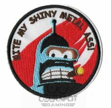 "Futurama Bender ""Bite My Shiny Metal Ass"" Embroidery Iron on/Sew on Patch"