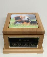 Dog Urn Pet Urn w/ Custom Tile Photo & Engraved Black Tag 60 lbs Red Alder