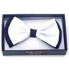 New Tuxedo PreTied White with Black Trim Bow Tie Satin Adjustable Bowtie