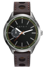 ESPRIT -tp10921 brown night ES109211003 Herrenuhr Leder dunkelbraun neu