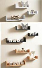 Set of 3 U Shape Floating Wall Shelves Shelf Storage Display White Black Oak