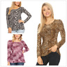 Hot Womens Lady Long Sleeve Leopard Cheetah Animal Print Pattern T Shirt Blouse