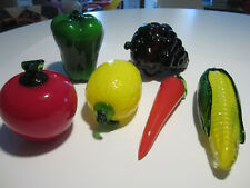 Murano Glass Fruits & Vegetables, 6 Items In All