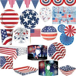 USA Deco Party Items America Celebration 4. July New York Blue White Red Set