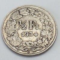 1934B Switzerland 1/2 One Half Franc Helvetia Swiss Circulated Coin F333