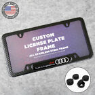 For Audi Front Or Rear Carbon Fiber Texture License Plate Frame Cover Sport Gift