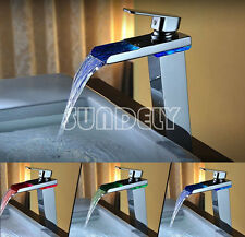 LED Tall Waterfall Bathroom Basin Faucet Deck Mounted Hot Cold Sink Mixer Tap