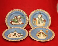 Debbie Mumm Sakura JOLLY SNOWMEN Set of 4 Dessert Plates Winter Christmas