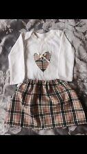 Stunning Girls Beige Tartan Skirt Custom Vest 9-12 Months