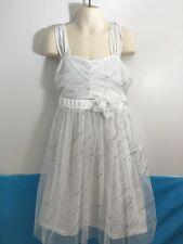 EUC GIRL'S FASHION WHITE SILVER SPARKLE LAYERED DRESS FLOWER GIRL COMMUNION SZ 8