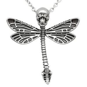 Deadly Dragonfly Skull Skeleton Pendant Necklace w. Swarovski crystals Controse
