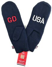 Go Team USA Winter Olympics Navy Blue Knitted Mittens - Adult One Size Fits All