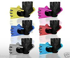 MESH LEATHER WEIGHT LIFTING PADDED GLOVES FITNESS TRAINING CYCLING GYM SPORTS
