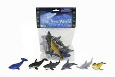 "Ocean Life Set 6 Sea World Creatures Shark Whale Dolphin Seal 4"" Animals Plastic"