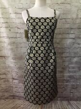 TARGET Limited Edition  Womens Cocktail Dress Sz 6 Jacquard Geometric Black Gold