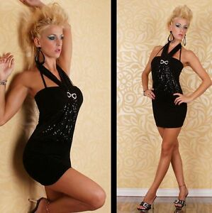 Womens Black Sequin Embellished Sexy Party Halter Backless Mini Dress 8 10 12