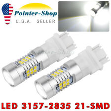 2x White 3157 3156 21 SMD LED DRL Tail/Brake/Turn Signal Light Bulbs 3057 4157