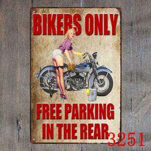 Metal Tin Sign bikers only Decor Bar Pub Home Vintage Retro Poster