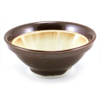 "Japanese 7""D Ceramic Brown Suribachi Mortar Food Preparation Bowl Made in Japan"