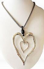 GRANDE ASTRATTO metallo multi ciondolo a cuore e collana lunga argento Lagenlook