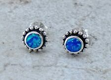 EXOTIC 925 STERLING SILVER BLUE GREEN OPAL STUD EARRINGS  style# e1071