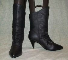 1990s Vintage metal Big Hair Black leather high heel ankle boots Passports 7.5 M