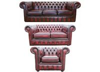 Brand New Handmade Chesterfield Genuine Leather In Antique Oxblood Sofas