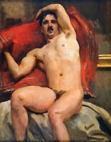 Nude Male Model Seated JOHN SINGER SARGENT fine art canvas print